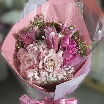A012玫瑰百合花束生日花束情人節花束