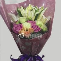 A017玫瑰百合花束生日花束情人節花束
