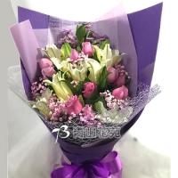 A022玫瑰百合花束生日花束情人節花束