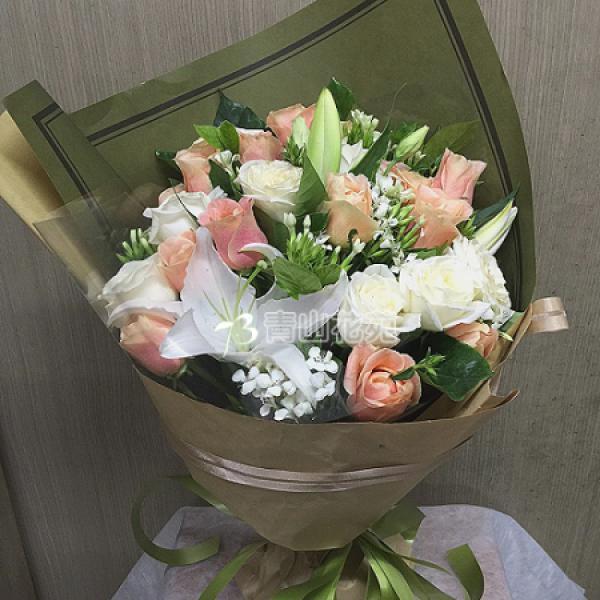 A029珍愛傳情花束百合玫瑰花束