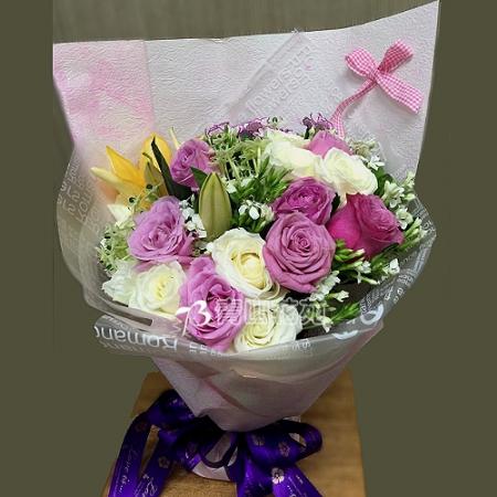 A030珍愛傳情花束百合玫瑰花束時尚花束