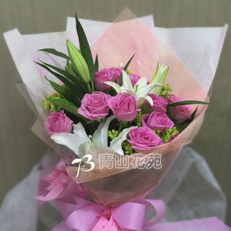 A032幸福約定玫瑰百合花束