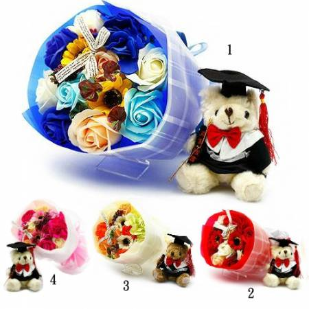 Y001美麗的記憶畢業香皂花束(來店自取)(可加畢業熊80元)
