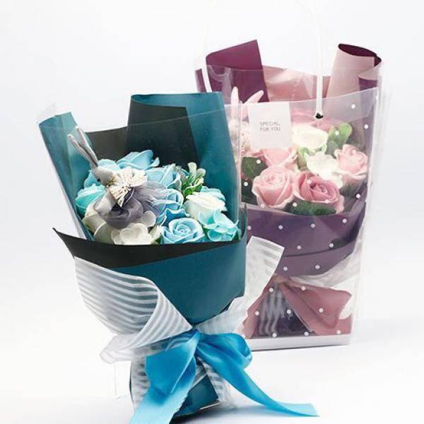 Y004可愛珠寶MINI韓兔玫瑰香皂花束(粉色/藍色)