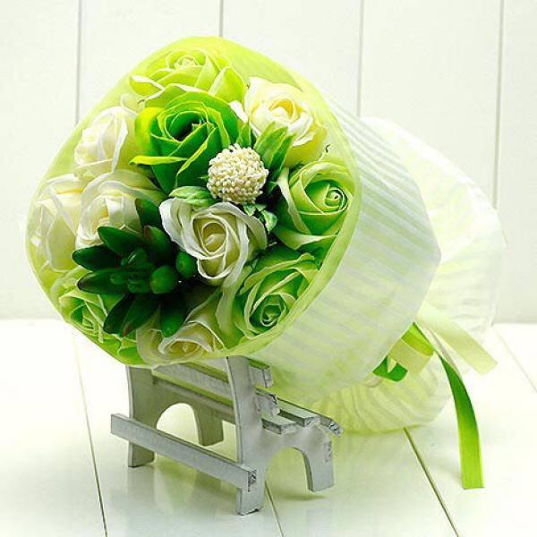 Y006戀戀白玫瑰多肉香皂花束情人節花束