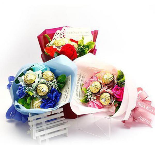 K002我愛你3朵金莎玫瑰香皂花束(三色)