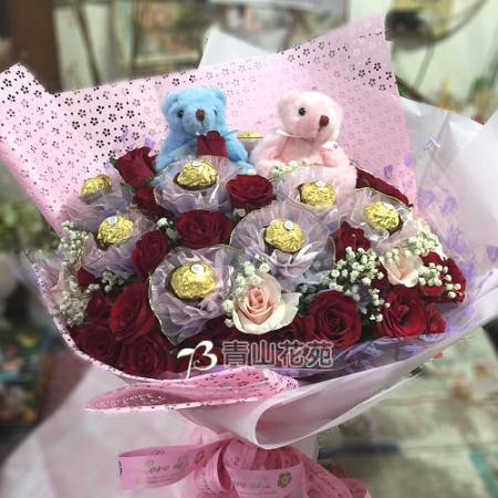 A051吾愛永在金莎玫瑰花束台東花店
