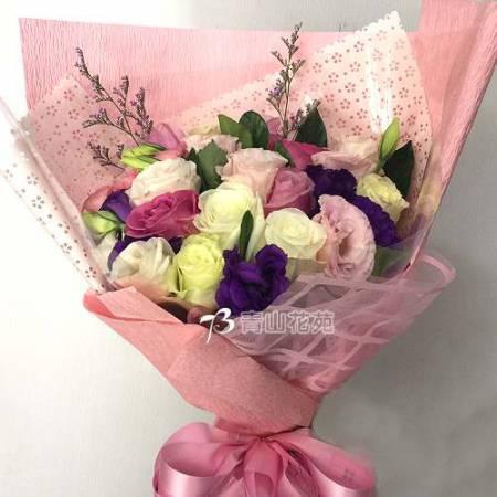A066浪漫的愛情玫瑰桔梗花束情人節生日花束