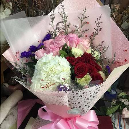 A068甜蜜伴你繡球玫瑰花束傳情花束