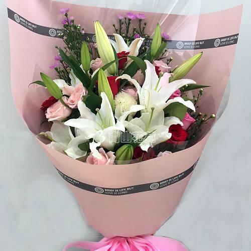 A079我是真的愛你玫瑰百合花束傳情花束熱賣商品