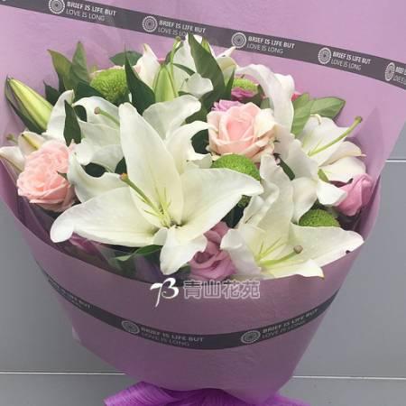 A081珍愛百合玫瑰花束傳情花束