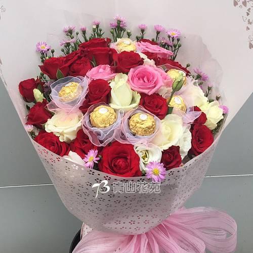 A082幸福滿滿玫瑰金莎花束店主推薦