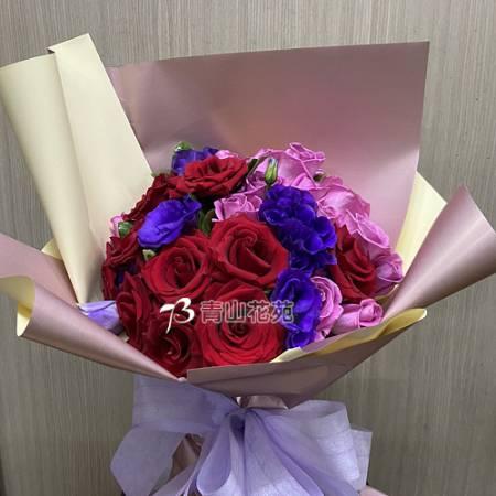 A084想你玫瑰桔梗花束情人節花束