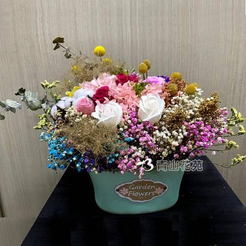 J013乾燥花花盆祝賀花禮開幕喬遷時尚盆花店面擺飾盆花