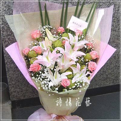 F029愛戀情深百合玫瑰花束