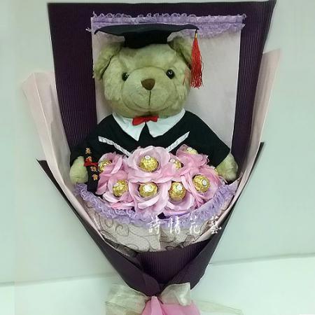 F2012畢業的祝福金莎玩偶畢業花束