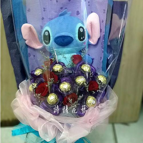 G032百事可樂史迪奇金莎玩偶玫瑰花束