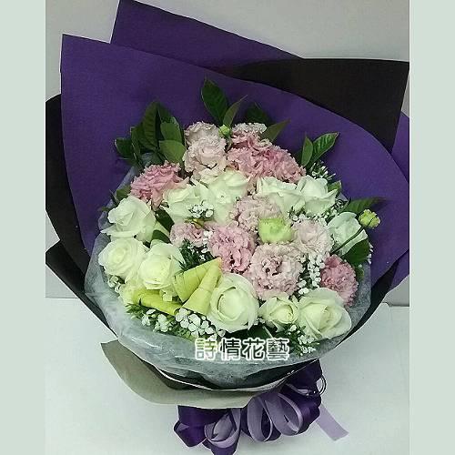 F057伴你一生玫瑰桔梗花束生日花束