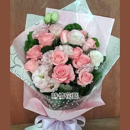 F059甜蜜的幸福粉玫瑰桔梗花束生日花束