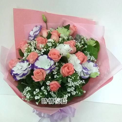 F062不變的愛玫瑰桔梗花束
