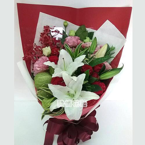F063戀愛密碼玫瑰百合花束特殊節日花束