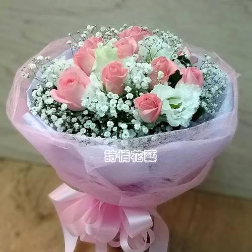 F070純真的愛玫瑰桔梗花束