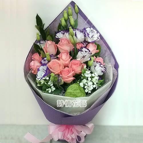 F090甜蜜的幸福玫瑰桔梗花束生日花束
