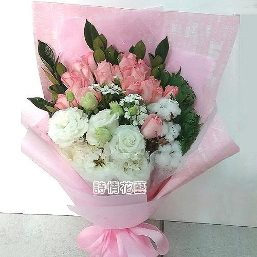 F092浪漫的愛玫瑰桔梗時尚花束生日花束