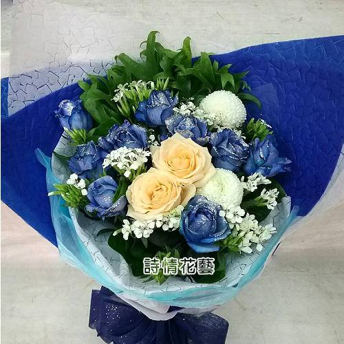 F098你是最特別的藍玫花束浪漫情人節花束