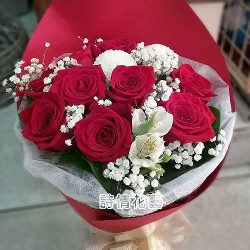 F102花好月圆紅玫瑰花束生日花束