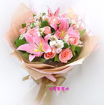 【B-082】花束精選:百合花束-情人花束-情人節花束-傳情花束情人節花束