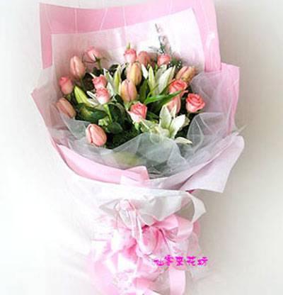 【B-083】花束精選:百合花束-情人花束-情人節花束-傳情花束情人節花束