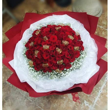 A009100朵玫瑰花束求婚花束情人節花束