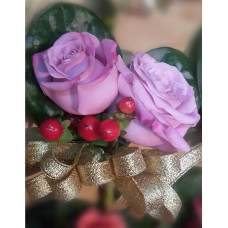 G009胸花-紫玫瑰(2朵)