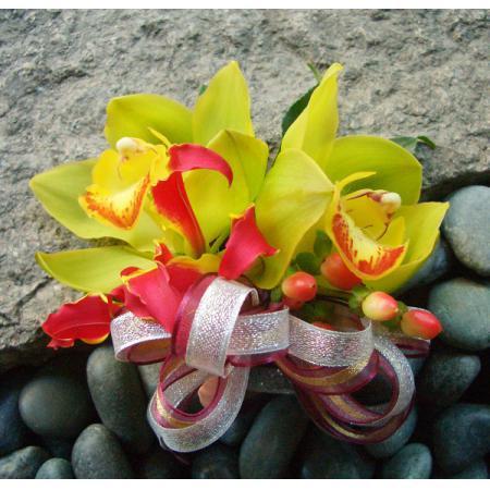 G013胸花-2朵東亞蘭(黃綠)