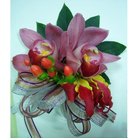G014胸花-2朵東亞蘭(紅)