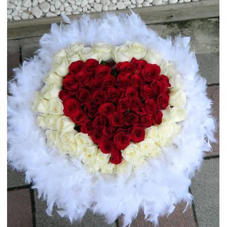 A013心型瑰玫花束100朵玫瑰花束求婚花束