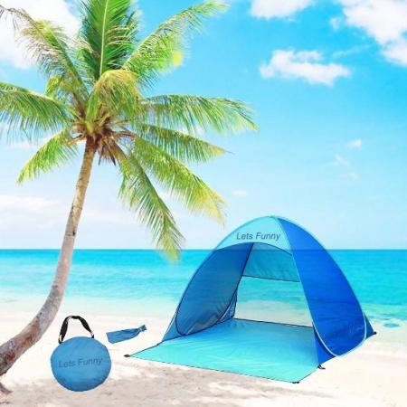 Z0782-3人用簡単10秒設営機能抗UV超超軽量海灘用帳篷(藍)(橘)