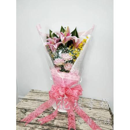 SU007粉色玫瑰百合花束