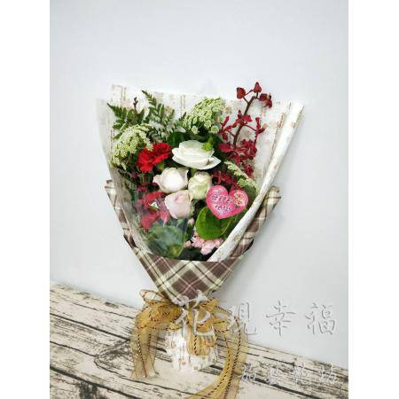 SU019母親節棕格紋花束