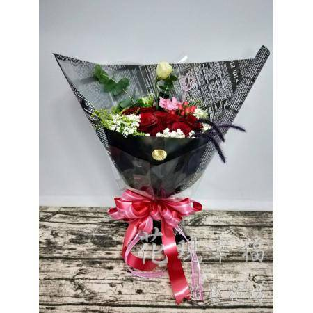 SU022520黑時尚9朵玫瑰花束