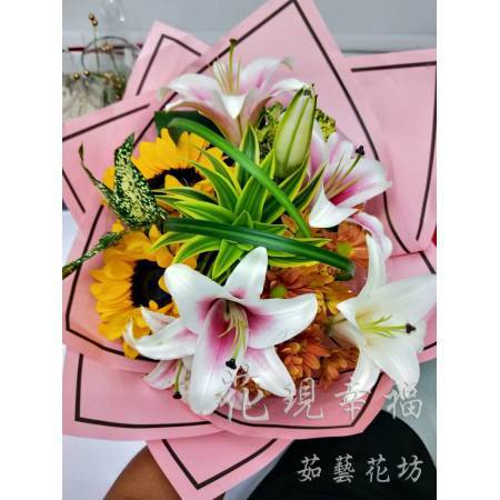 SU030畢業花束向日葵百合