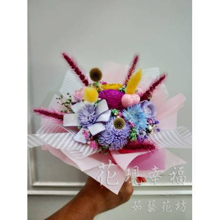 GZ022粉浪漫圓乾燥花束
