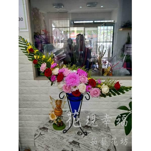 YS048月形藝術盆花