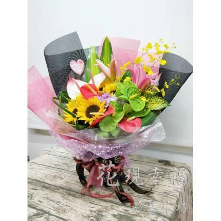 SU042粉黑時尚網紗花束